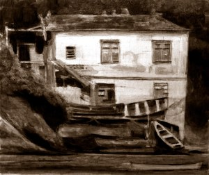 rio house on island egg tempera 12 2 12 monochrome